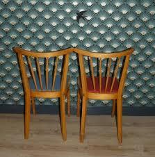 mid century esszimmerstühle in rot blau 1950er 2er set