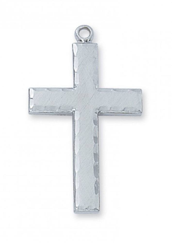 "Sterling Silver Men's Cross with 24"" Chain"