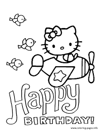 Hello Kitty Plane And Birds Birthday Coloring Pages