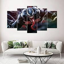 wangzuo leinwandbild 5 teilig modernes giclée design gerahmt für wohnzimmer venom marvel leinwand bilder fotoprints auf leinwand 150 80cm