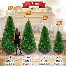 Artificial Christmas Tree 5 6 7 8ft W Metal Stand Xmas Slim Spruce