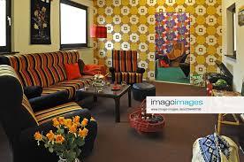 stockfoto 70er jahre wohnzimmer auf einer sonderausstel