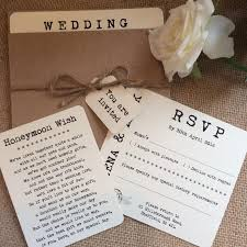 Vintage Rustic Pocket Helena Wedding Invitation With RSVP Honeymoon Wish Card Twine And Tag