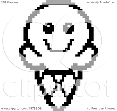 Clipart of a Black and White Happy Waffle Ice Cream Cone Character