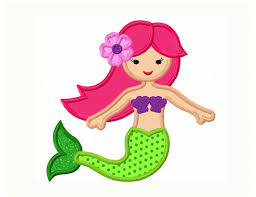 Instant Download Cute Mermaid Applique Machine Embroidery