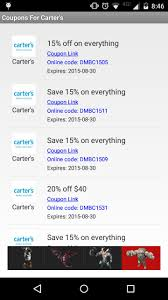 Coupons For Carter's For Android - APK Download Pinned November 6th 50 Off Everything 25 40 At Carters Coupons Shopping Deals Promo Codes January 20 Miele Discount Coupons Big Dee Tack Coupon Code Discount Craftsman Lighting For Incporate Com Moen Codes Free Shipping Child Of Mine Carters How To Find Use When Online Cdf Home Facebook Google Shutterfly Baby Promos By Couponat Android Smart Promo Philippines Superbiiz Reddit 2018 Lucas Oil