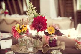 Rustic Diy Cheap Wedding Reception Decorations With Flowers In Glass Jars And Small Candles