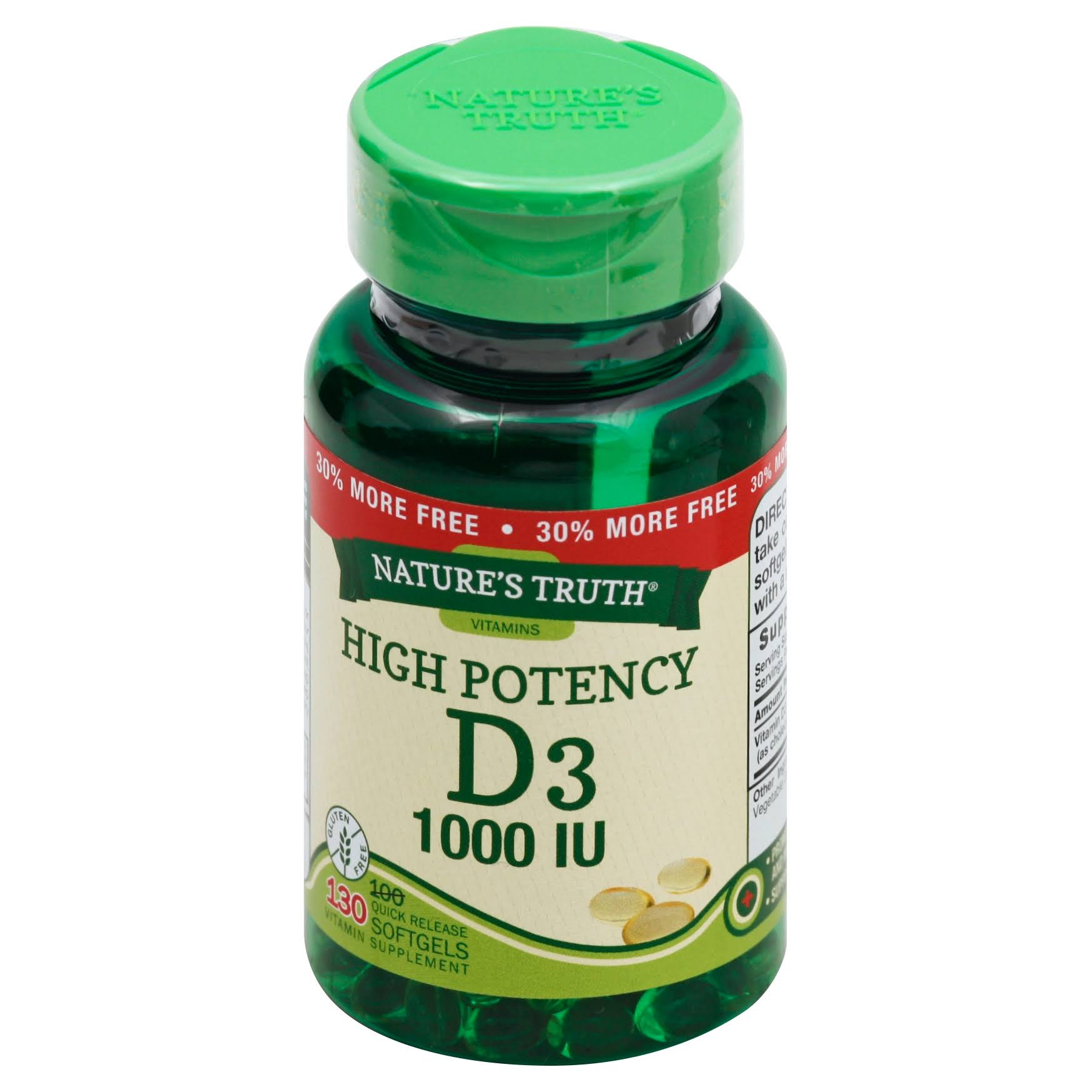 Nature's Truth High Potency Vitamin D3 1000 IU Quick Release Softgels Supplements - 130ct