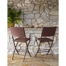 Cosco Folding Chairs And Table by Cosco Delray Transitional Steel Brown U0026 Red Woven Wicker High Top