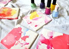 watercolor effect tile coasters an easy diy with nail and