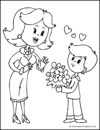 This Sweet Coloring Page Shows A Boy Giving Flowers To His Mother You Can Color