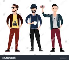 fashionable young men hipster character flat stock vector
