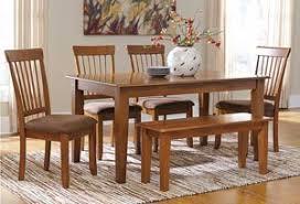 Berringer Rectangular Dining Room Table 4 Chairs Bench