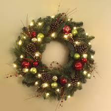 Pre Lit Christmas Tree Canada by The Cordless Prelit Ornament Trim Wreath Hammacher Schlemmer