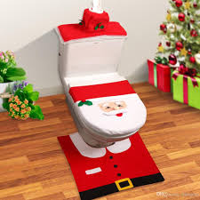 Christmas Red Bathroom Rugs by Bathroom Santa Claus Toilet Seat Cover U0026 Rug Bathroom Set