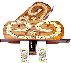 Christmas Gifts 3 Track Cribbage Board Game Set With 9 Metal Pegs 2 Decks Of