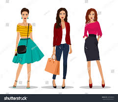 beautiful young women fashion clothes detailed stock vector