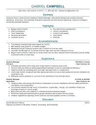 Resume Objective For Restaurant Examples General Manager Sample