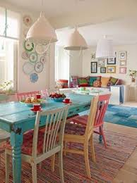 Eclectic Dining Room Blue Table Mixed Chairs Plate Wall Striped Rug