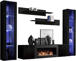 wohnwand flyer m2 mit kamin bioethanol moderne anbauwand mit kamineinsatz elegante wohnzimmer set schrankwand tv lowboard wandregal vitrine