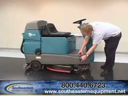 how to operate the tennant t7 ride on floor scrubber youtube