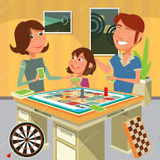 Family Playing A Board Game Vector Illustration Stock