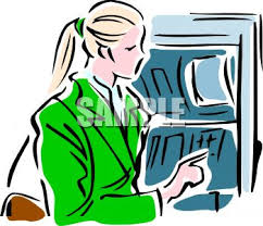 0511 1004 2705 3908 Woman Taking Money Out of an ATM clipart image
