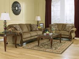 Broyhill Emily Sofa And Loveseat by Santiago Traditional Brown Fabric Wood Trim Sofa Couch Set Living