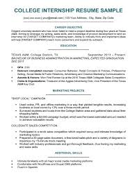 Sample Internship Resume For College Students Student Examples