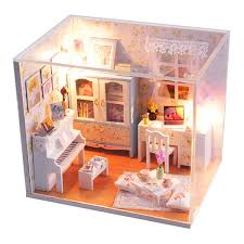Doll House Miniatures Hoomeda DIY Wood Dollhouse Miniature With