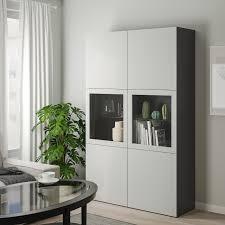 ikea bestå storage combination w glass doors black brown