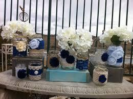 Wedding Blues Mason Jar Set Burlap And Lace Decor