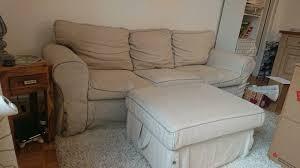 landhaus sofa beige 3 sitzer mit fußhocker
