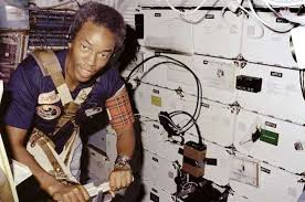 Guion S Bluford Jr Exercising On A Treadmill Aboard The US Space