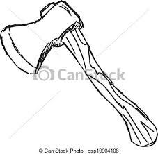 An axe Hand drawn sketch cartoon illustration of axe vector