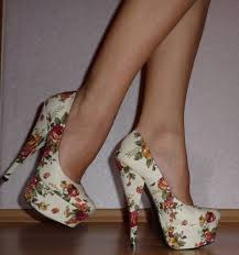 Shoes High Heels Floral Pumps Vintage Flowers Fashion White Cute