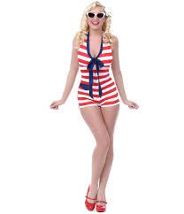u0026 white stripe one piece admiral romper swimsuit unique vintage