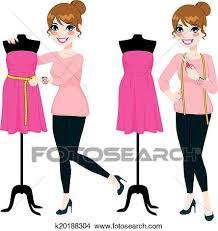 Clipart Of Fashion Designer Woman K20188304