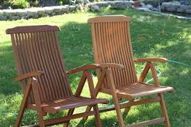 Teak Patio Furniture Pair Chairs With Oil