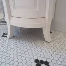 black white bathroom floor tile hexagon thedancingparent