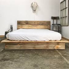Rustic Modern Platform Bed Frame And Headboard Loft Style