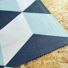 Navy Geometric Pattern Curtains by Cubes Fabric Korla Geometric Curtain Fabric Navy Blue