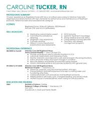 Unfor table Intensive Care Unit Registered Nurse Resume Examples