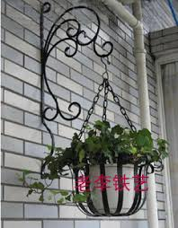 Rustic Iron Flower Stand Balcony Wall Hanging Basket Diaolan Pot Holder