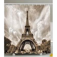 Paris Eiffel Tower Bathroom Accessories by Romantic Aesthete Eiffel Tower Printing Shower Curtain
