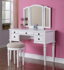 Bedroom Beautiful Girl Decoration Using Round White Wood Backless Vanity Chair Including Pink