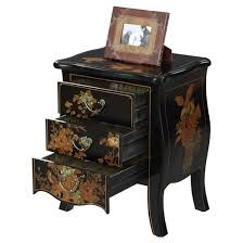 Touch of Asia 3 Drawer End Table Black Convenience Concepts