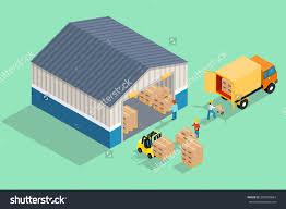 Isometric Warehouse Loading Unloading Storage Stock