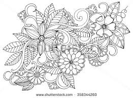 Doodle Floral Pattern In Black And White Page For Coloring Book Very Interesting