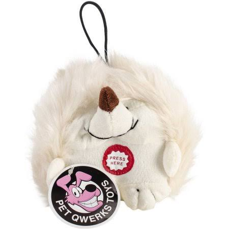 Pet Qwerks Dog Plush Toy - Hedgehog, White, Small